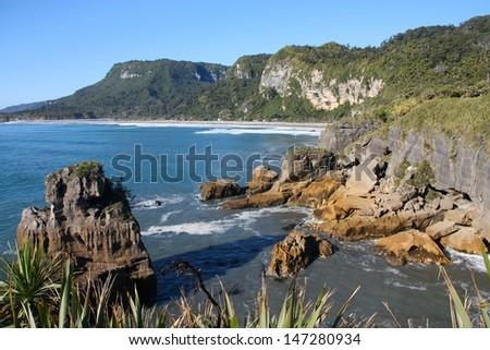 New Zealand - West Coast. Famous natural landmark in Paparoa National Park - Punakaiki or Pancake Rocks.