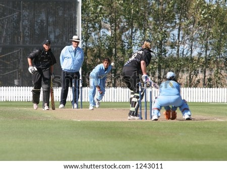 New Zealand womens cricket captain Haidee Tiffen faces a delivery from Indian medium pace bowler Rumeli Dhar during the fourth one day international held at Lincoln, New Zealand.