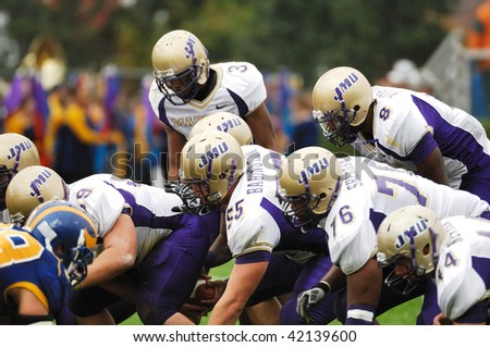 NEWARK, DE - OCTOBER 31: Members of the James Madison Dukes football team line up to attempt to block a kick during the October 31, 2009 game in Newark, DE.