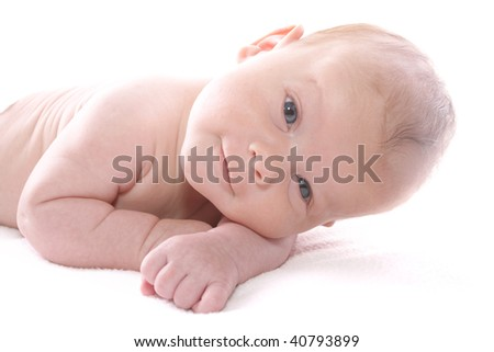 Newborn baby boy isolated on white background, smiling and happy