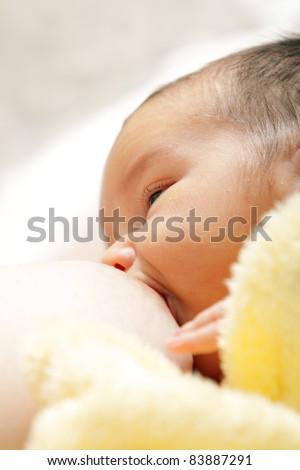 Newborn baby breast feeding breast