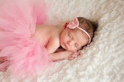 Newborn baby girl wearing a pink crocheted headband and tutu. She is sleeping on white billowy fabric.