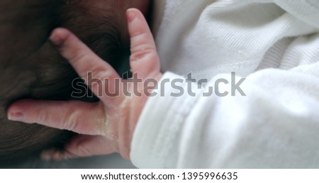 Newborn baby hands close-up in macro #1395996635