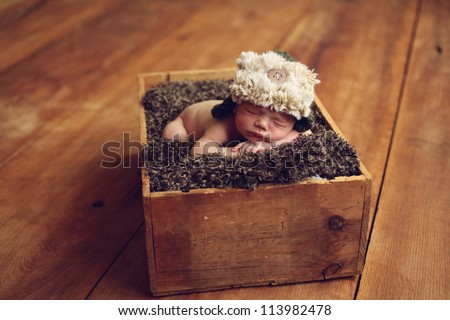 Newborn baby in a box