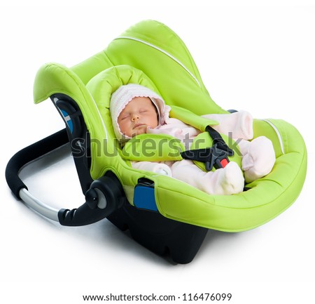 Newborn baby in a Car Seat, isolated on white