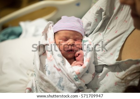 Newborn baby in hospital after just being born