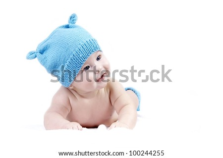 Newborn baby in the hat, isolater on the white background