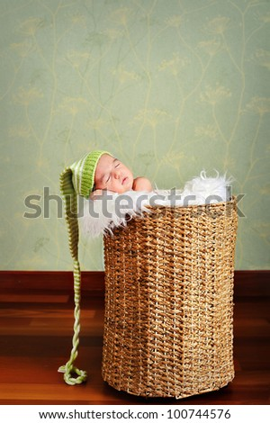 Newborn baby sleeping in a straw basket