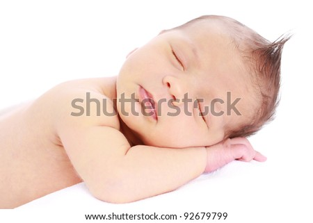 Newborn baby sleeping on white background