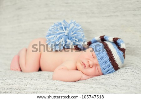 Newborn baby sleeping. Soft focus, shallow DoF