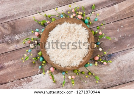 Newborn digital background flokati with easter egg decoration #1271870944