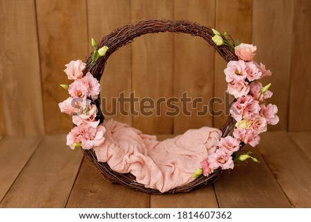 Newborn Digital Background Spring flowers Basket Prop for Newborn. For boys and girls. Wood back. shoot set up with prop bed and wood backdrop