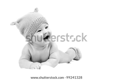 Newborn happiness baby in the hat, isolater on the white background