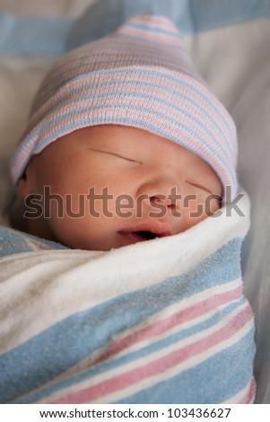 Newborn in deep sleep