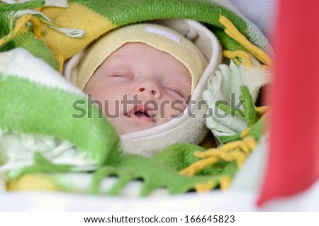 newborn in winter sleeping in the pram