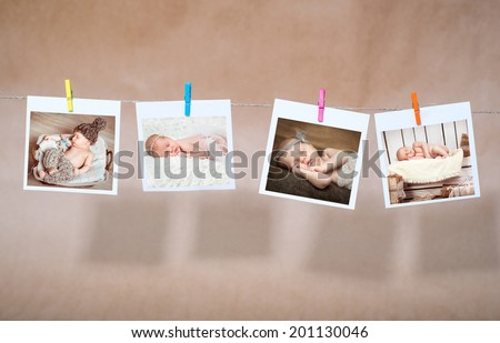 newborn photos attached clothespins on rope