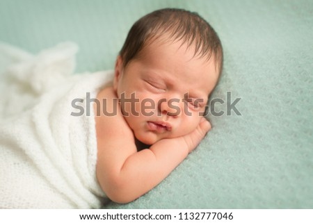 newborn photoshoot portrait palm under the cheek on mint knitted backdrop