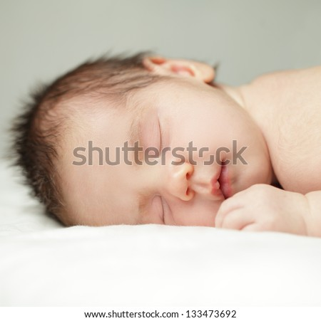 Newborn, sleeping baby close-up (up to one month)