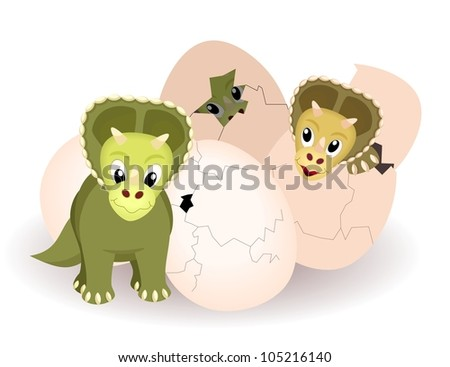 newborn triceratops hatched from eggs  - kid bitmap illustration
