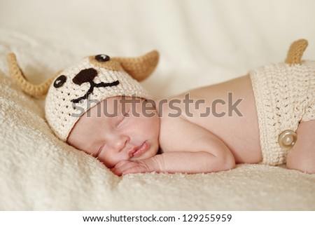 newborn wearing funny  knitted costume of dog
