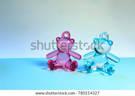 9b068dc40cb214 Newborns, Family, Childhood Concept. Toy Bears. Baby Twins Concept.Baby  Twins · Boy or Girl on a Blue and Pink Background ...