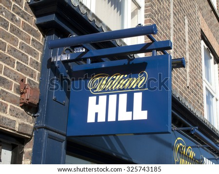 Newbury, Market Place, Berkshire, England - October 10, 2015: William Hill bookmakers, company founded by William Hill in 1934 at a time when gambling was illegal in Britain