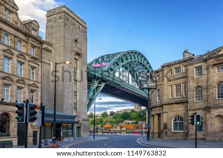 Newcastle city centre with the Tyne Bridge in the background