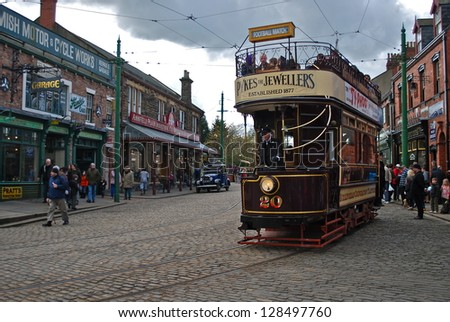 NEWCASTLE, ENGLAND - APRIL 5. The Great North Festival of Transport at Beamish Museum featured historic tramcars from Birkenhead on April 5, 2012, Newcastle, England.