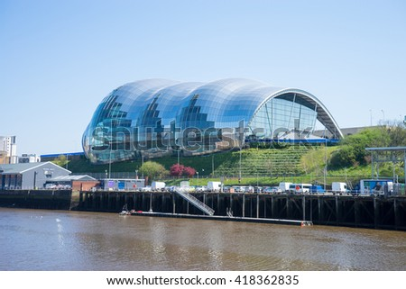 NEWCASTLE, ENGLAND - MAY 9th 2016: Sage Gateshead, a concert hall on Newcastle/Gateshead Quayside. For musical education, performance and conferences. Located on the south bank of the River Tyne. #418362835