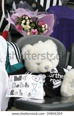 NEWCASTLE UPON TYNE, UK- AUGUST 5:  A makeshift memorial to Sir Bobby Robson, deceased former England Football Manager, is shown at St James Park stadium on August 5, 2009 in England.