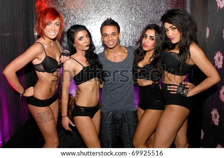 NEWCASTLE UPON TYNE, UK - JANUARY 27: singer Aston Merrygold JLS parties in Tup Tup Palace nightclub, on January 27, 2011 in Newcastle Upon Tyne, UK