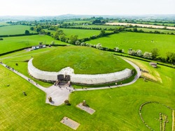 Newgrange, a prehistoric monument built during the Neolithic period, located in County Meath, Ireland. One of the most popular tourist attractions in Ireland, UNESCO World Heritage Site.