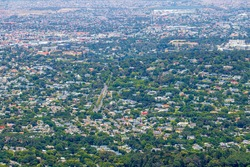 Newlands and Claremont, Cape Town panorama from above. Cityscape and Landscape.