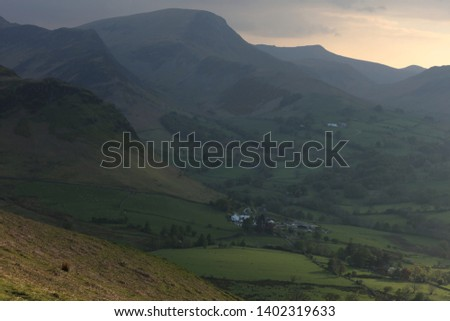 Newlands Valley, Lake District. Spring evening clouds at sunset in the lake District