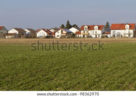 Newly built housing area in Southern Bavaria
