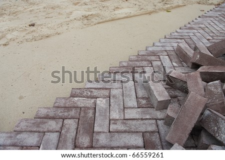 newly built road with herringbone pattern