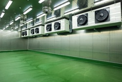 Newly cold storage room with refrigerator machine in the production line at the factory