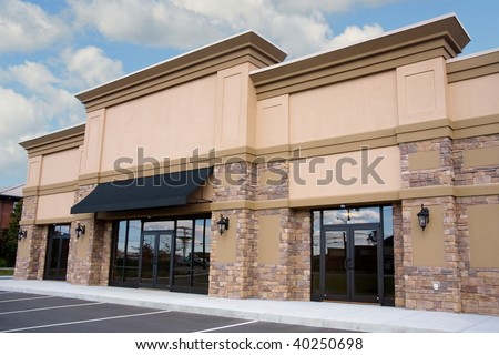 Newly constructed retail storefront