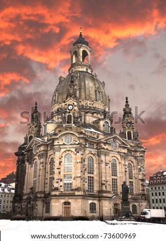 Newly reconstructed Church of Our Lady under winter sunset in Dresden, Germany