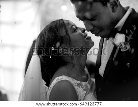 Newlywed African Descent Couple Dancing Wedding Celebration #649123777