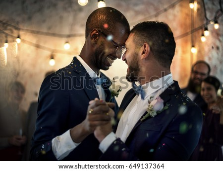 Newlywed Gay Couple Dancing on Wedding Celebration Stockfoto ©