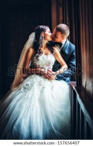Newlyweds embraces  Stock photo ©