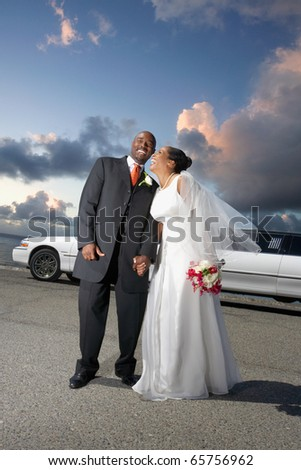 Newlyweds laughing together
