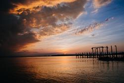 Newport News sunset on the James river beach