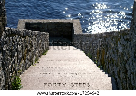 Newport Rhode Island Forty Steps Along Famous Cliff Walk Horizontal