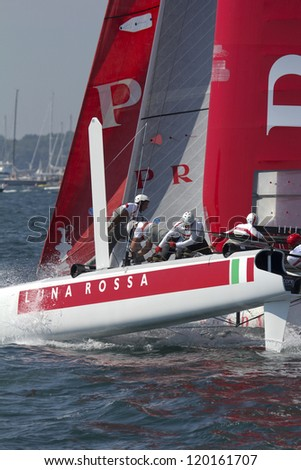 NEWPORT, RI - JULY 29: Max Sirena skippers Luna Rossa during 2012 America's Cup World Series in Newport, RI on June 29, 2012.