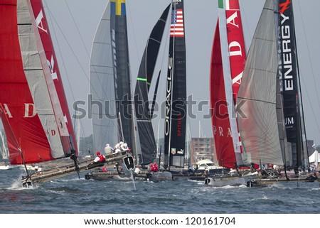 NEWPORT, RI - JULY 28:  Start of 2012 America's Cup World Series in Newport, RI on June 29, 2012.