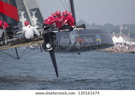 NEWPORT, RI - JULY 29: Terry Huthcinson skippers Artemis Racing during 2012 America's Cup World Series in Newport, RI on June 29, 2012.