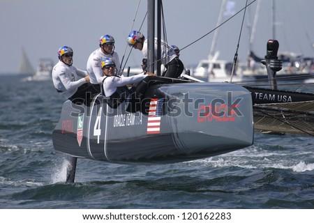 NEWPORT, RI - JUNE 28: James Spittal skippers Oracle Racing during 2012 America's Cup World Seriess in Newport, RI on June 28, 2012.