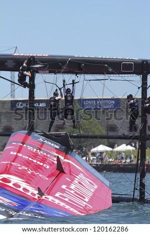 NEWPORT, RI - JUNE 28: Team New Zealand capsizes during 2012 America's Cup World Series in Newport, RI on June 28, 2012.